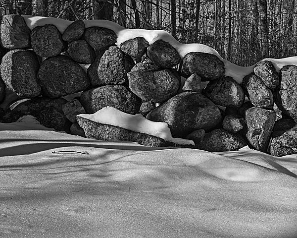 Stone Wall Under Snow