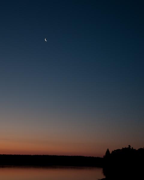 Sunrise with Crescent Moon (Hog Island, ME)